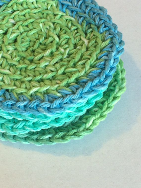 Green and Blue Makeup Remover Eco Friendly by CrochetKnitandMix
