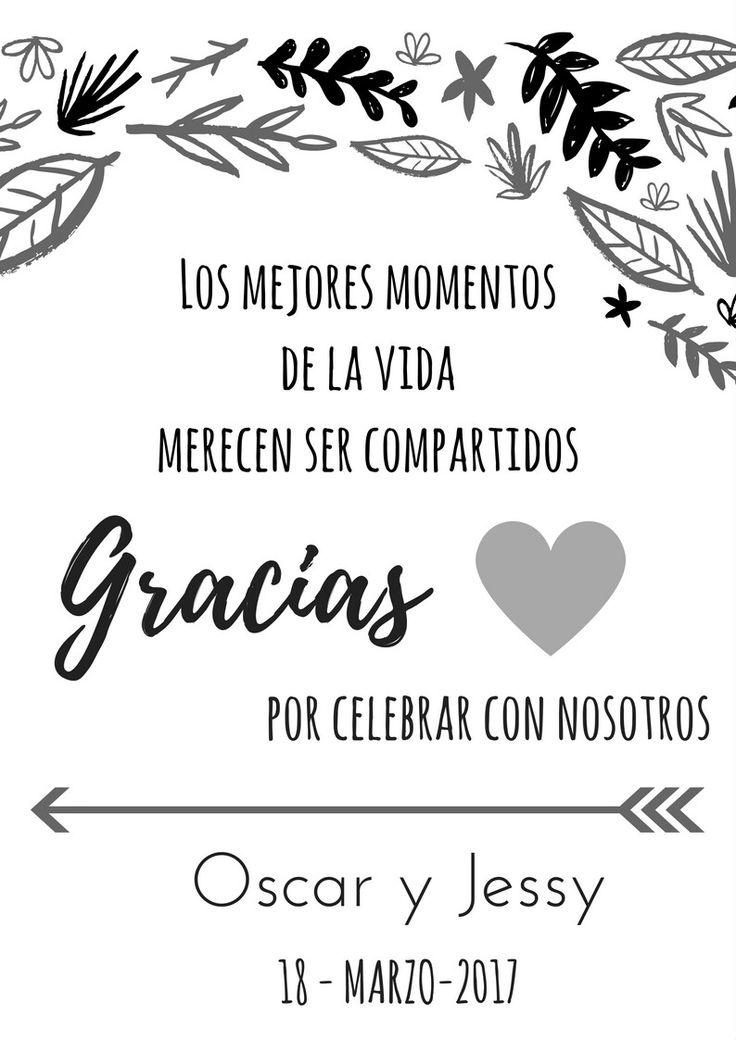 Tarjetas de agradecimiento para bodas, ideas