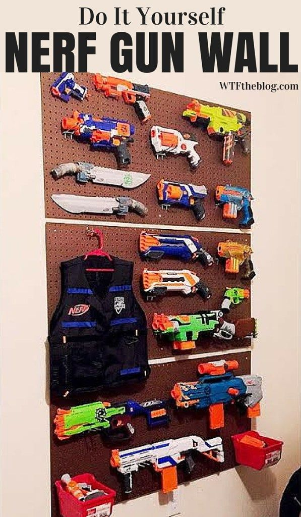 Do it yourself storage for all of those Nerf Guns laying all over the house. Even has a place for Nerf darts! No more losing darts or stepping on guns! The best part is, this whole project costs less than 50$