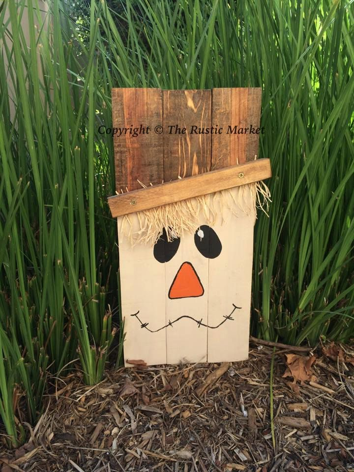 Hand Painted Wood Scarecrow Decor by RusticMarketbyNikki on Etsy