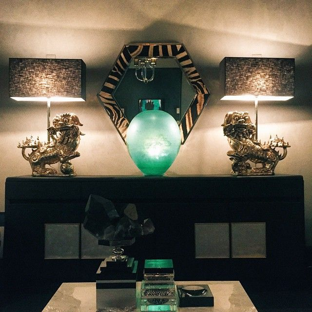 Palisander And Leather Sideboard With Terra Cotta Dragon Lamps#flairhome  #black #chic #