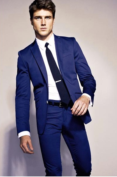 Tie bar is way too low!   cool blue suit