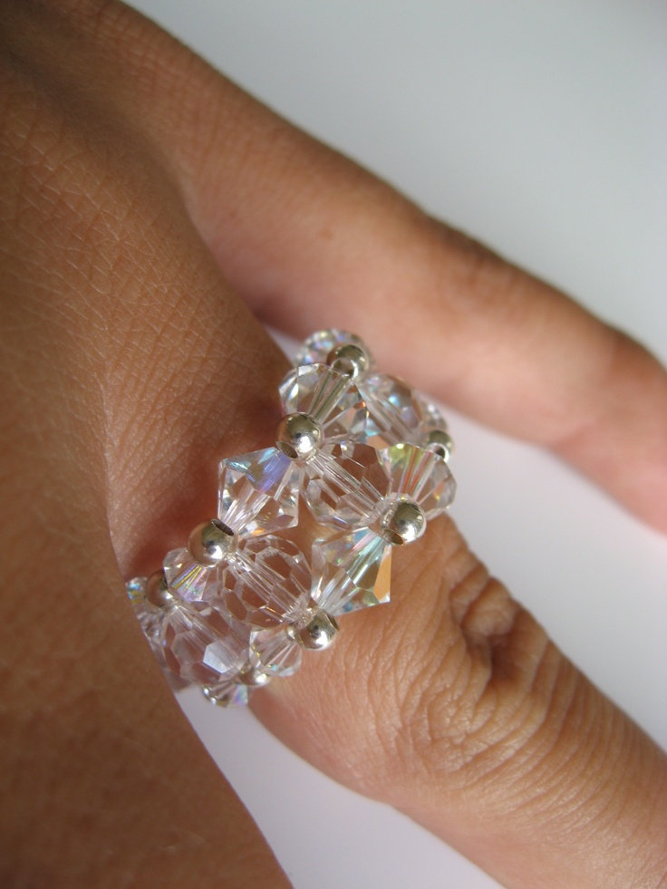 Fun beading project: Ring with crystal/crystal AB and sterling silver beads.
