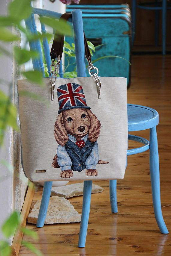 borsa cotone jeans arazzo jacquard cuoio cani cane inglese