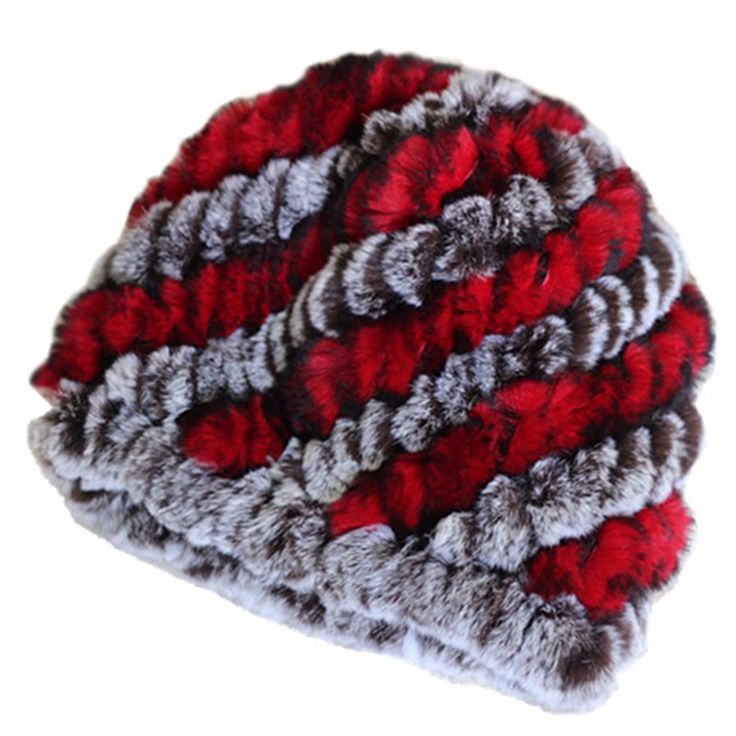 YIFEI Women Genuine Knitted Rabbit Fur Hats For Women Real Fur Beanies Rex Fur Pom Poms Snow Cap Winter Fur Hats Lady