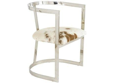 chaise en acier et assise peau de vache. Black Bedroom Furniture Sets. Home Design Ideas