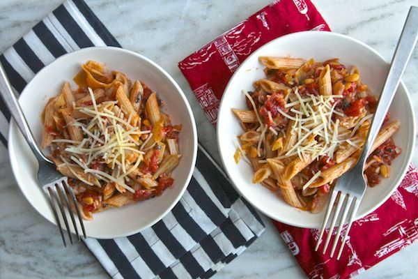 "tomato & artichoke penne pasta ""What I love about this dish was how easy it is to prepare and how it costs next to nothing to make. For a college student those two things are GOLD."""