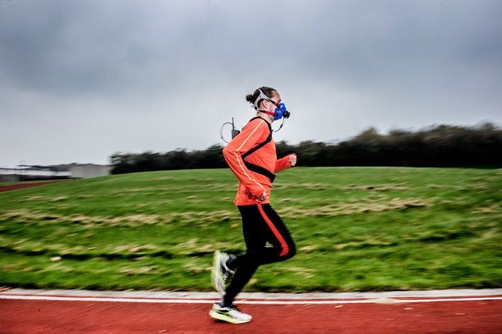 Top Danish 800mt track and field athlete, Andreas Bube, testing in the field with COSMED K5 wearable metabolic system at the South Denmark University (SDU)