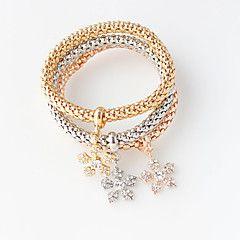 Náramky+Wrap+Náramky+Slitina+Round+Shape+Dvojitá+vrstva+/+Módní+Svatební+/+Párty+Šperky+Dárek+Zlatá,1Nastavte+–+USD+$+7.00