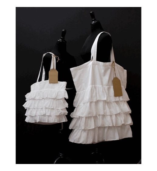 White Ruffle Tote Bag