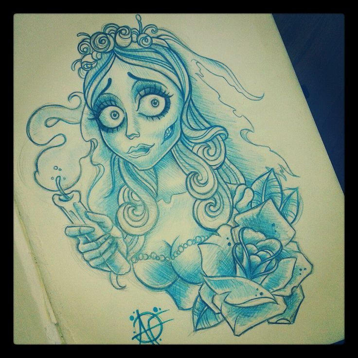 """""""My Corpse Bride Design to tattoo on a customer."""" Aaron Tattoo Frost rose candle Tattoo Flash Art ~A.R."""