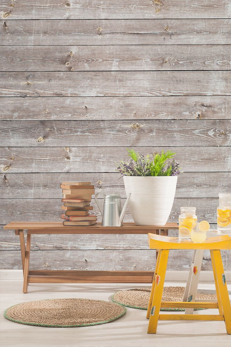 Running out of ideas about how to freshen up your living room? Take a look at this beautiful weathered wood wallpaper design. Ideal for bringing a rustic feel to your home in a stylish yet contemporary way.