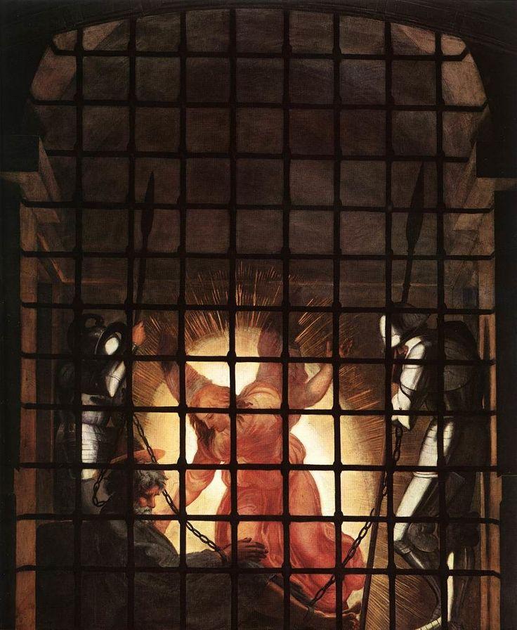 Pierre était donc en prison, mais la prière ardente de l'Eglise montait sans relâche vers Dieu à son intention. Hérode allait le faire comparaître. Cette nuit-là, Pierre dormait entre deux soldats, maintenu par deux chaînes, et des gardes étaient en faction...