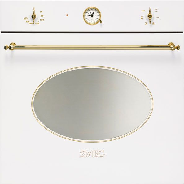 smeg white oven with gold implempent