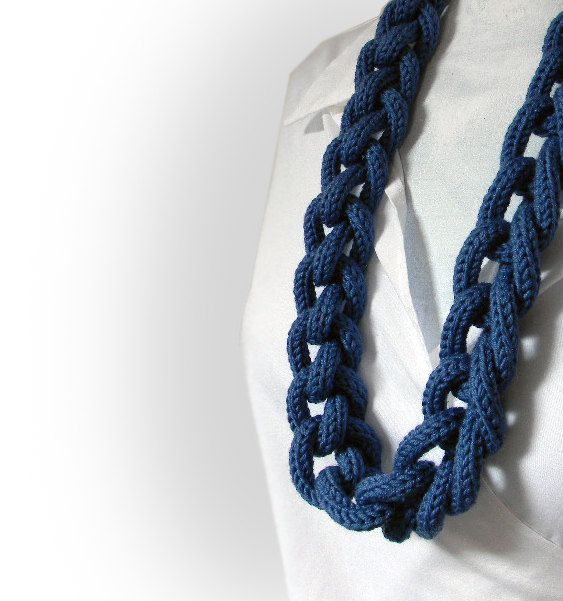 Chain knitted and knotted long necklace /Ines/ navy blue, merino extrafine wool, long necklace, knitted knitting jewelry. via Etsy