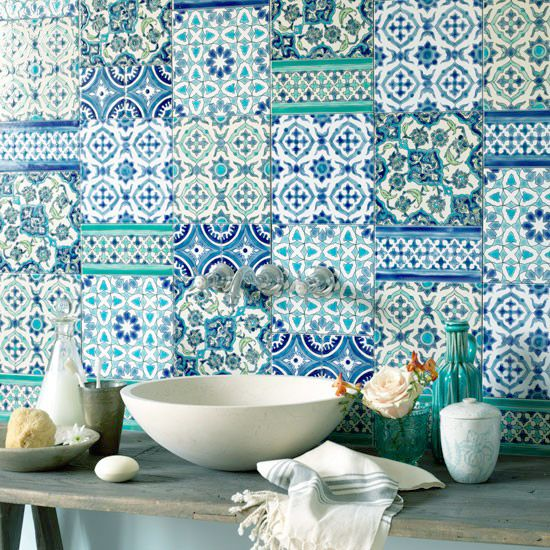Blue Patterned Tile Backsplash