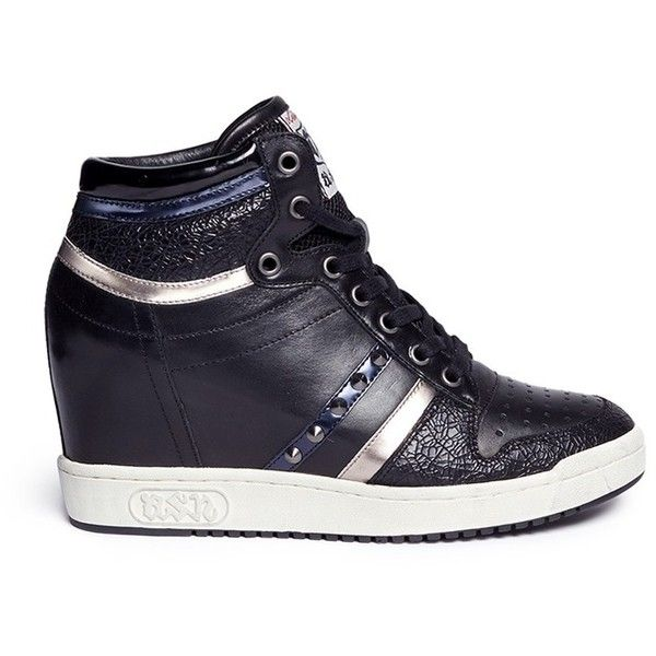 Ash 'Prince' stud high top leather wedge sneakers (4,765 MXN) ❤ liked on Polyvore featuring shoes, sneakers, black, hidden wedge sneakers, metallic wedge sneakers, wedge sneakers, black high tops and black leather shoes