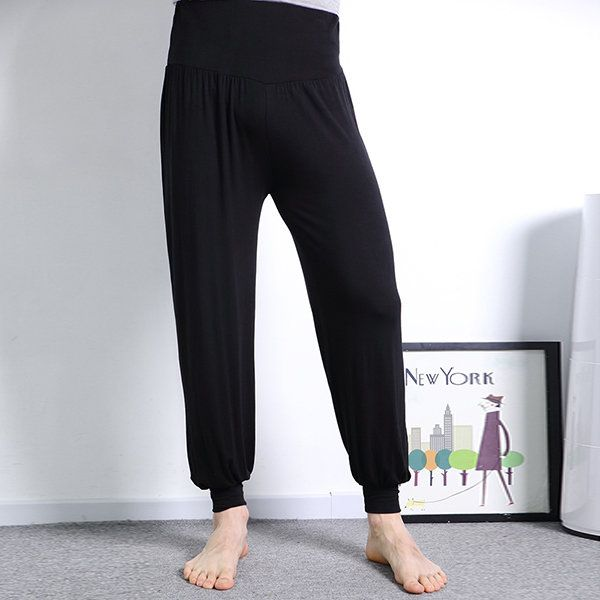 Mens Large Size High Waist Soft Loose Trousers Pure Color Casual Athletic Pants Cotton Bloomers