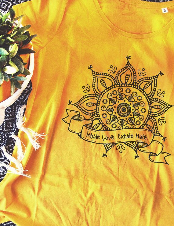 Mandala Organic t-shirt Love Hate Yoga indie by RooftopCo