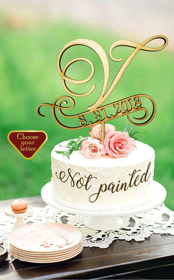 V Cake Topper Cake Topper Wedding Rustic Monogram Letter Cake