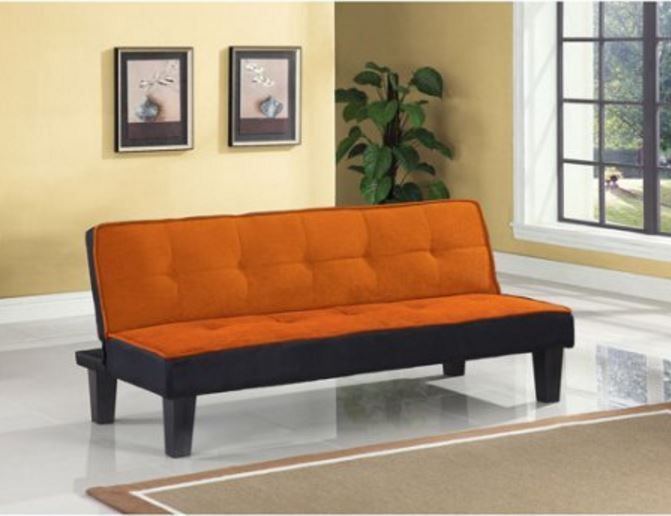 Leather Sofas Color Block Futon Adjustable Sofa Wooden Frame With Plastic Legs Green