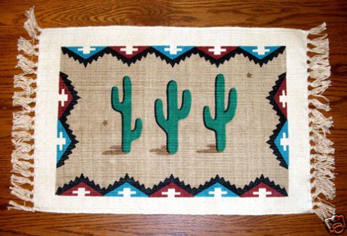 "Adorable cactus placemats. 13x19"" with fringed ends. Printed on thickly woven cotton canvas. Set of 6 for $29.95 + shipping #placemats #cactus #southwestern #desert #homedecor"