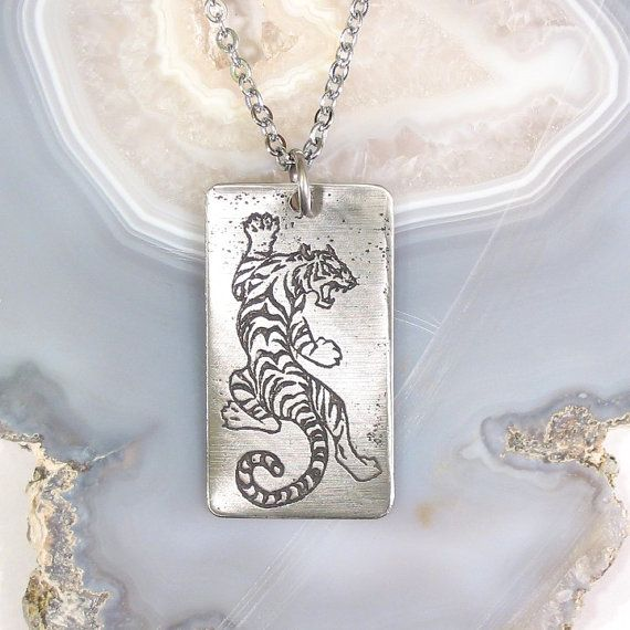 White Tiger Necklace, Stainless Steel Etched - Ferocity, Power, Passion - on Stainless Steel Chain