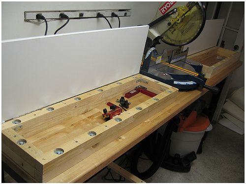 Underneath the workbench top--an underutilized workspace?   Mitre Saw Station | Flickr - Photo Sharing!