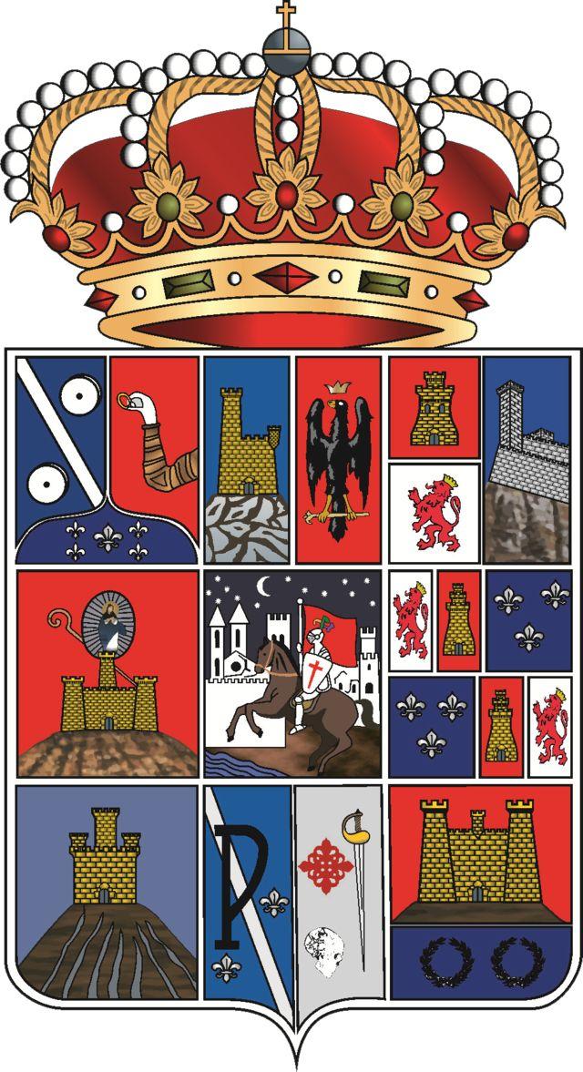 Escudo de la Provincia de Guadalajara - España. La provincia de Guadalajara es una provincia española situada en el nordeste de la comunidad autónoma de Castilla-La Mancha. Su capital es la ciudad de Guadalajara. La población más importante después de la capital es Azuqueca de Henares de más de 30,000 habitantes.