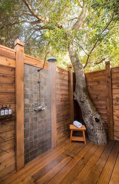 Outdoor privacy shower built around tree