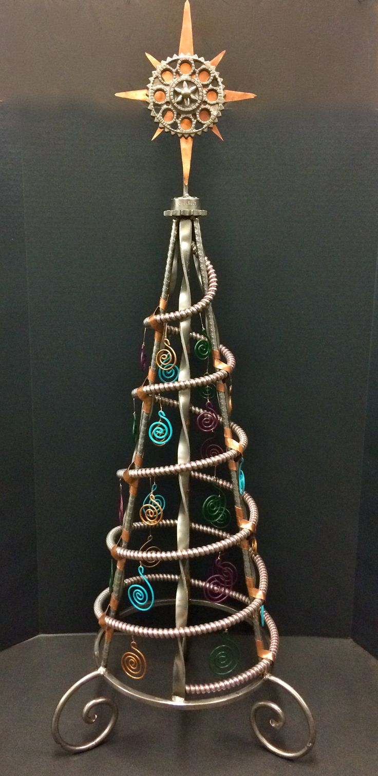 Christmas tree made from recycles candleholders, trivet ...