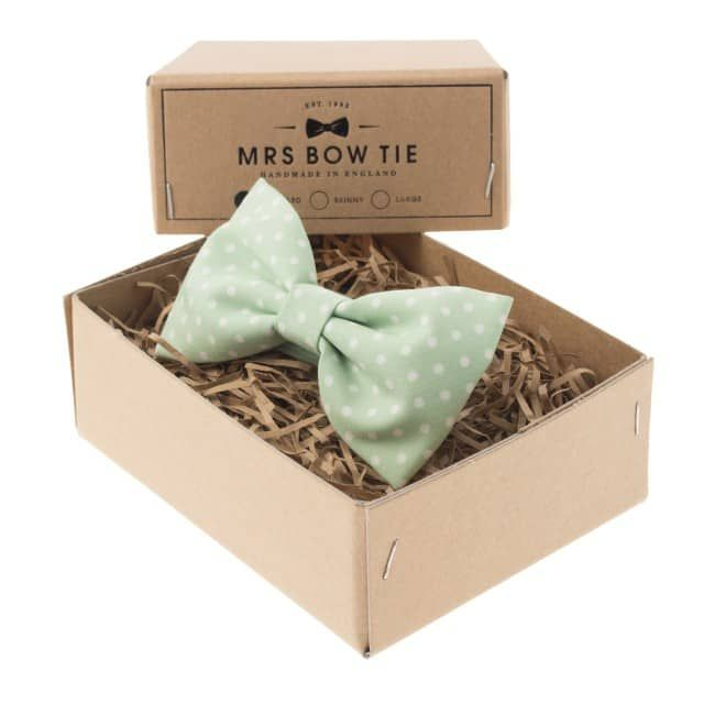 Fabric samples available for purchase on MRS BOW TIE's websiteWhite spots on light green.This bow tie is available in the styles below: