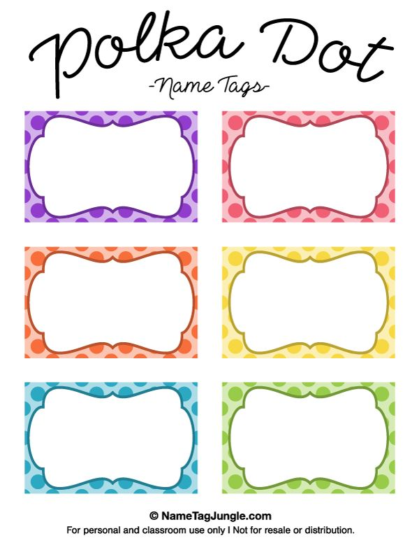 Free printable polka dot name tags. The template can also be used for creating items like labels and place cards. Download the PDF at http://nametagjungle.com/name-tag/polka-dot/