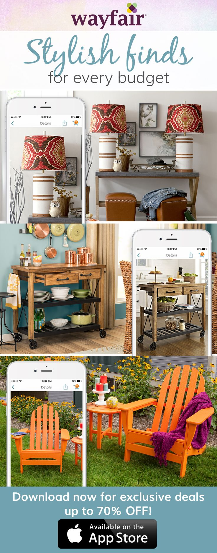 Treat your home to an update! Increasing storage space in your kitchen or spicing up a room with color doesn't have to include an expensive and lengthy renovation. Download the free Wayfair app to access exclusive deals everyday up to 70% off. Free shipping on all orders over $49.