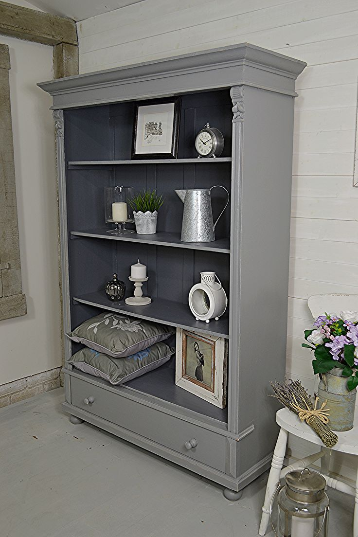 Why not add some unique storage in your home, with this rustic bookcase from Holland. Painted in Farrow & Ball Plummett with Valspar Carriage Wheel inside and lightly distressed.  http://www.thetreasuretrove.co.uk/cabinets-and-storage/rustic-dutch-shabby-