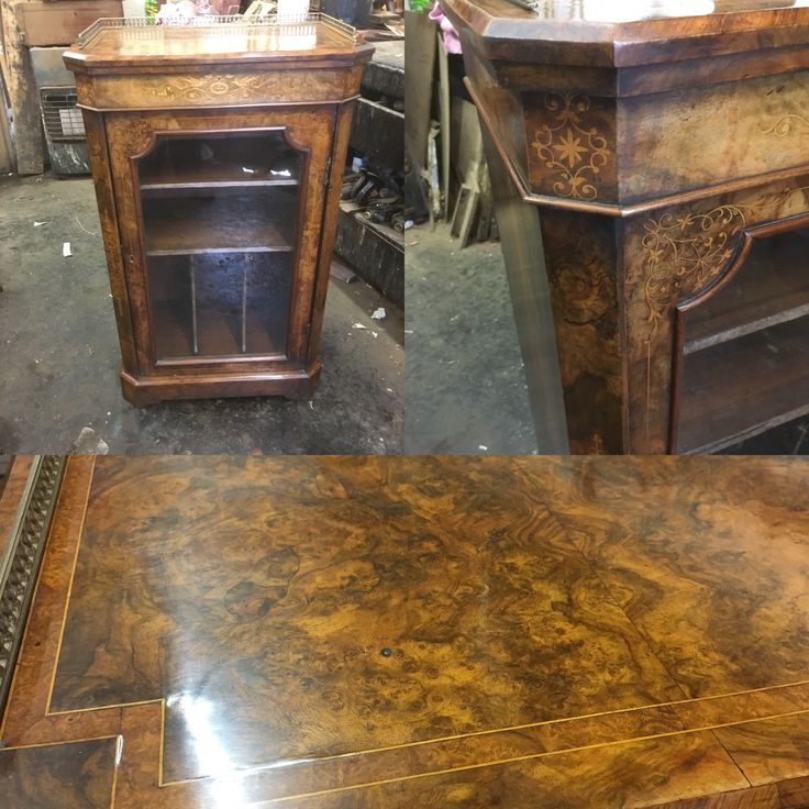 Antique Victorian burr walnut music cabinet with marquertry inlay to cabinet.