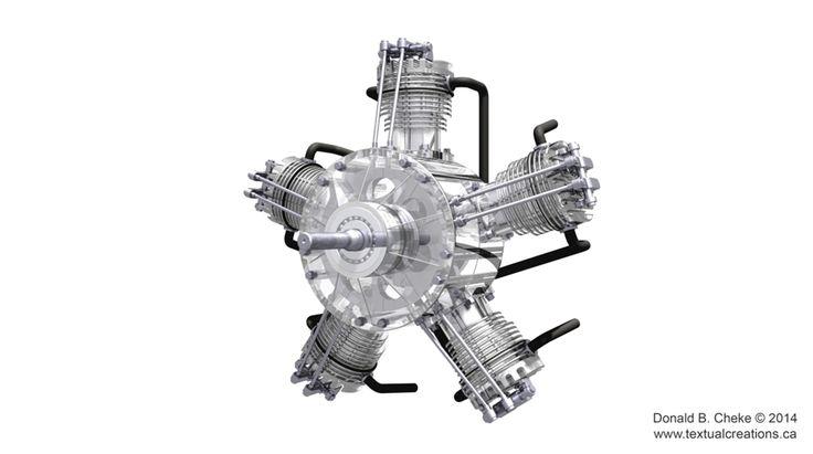 5 Cylinder Radial Engine CAD Model - Created in TurboCAD Pro Platinum v21 by Don Cheke | #TurboCAD #CAD