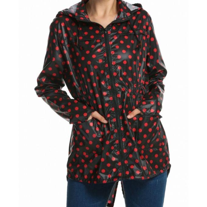 Manteau imperméable à capuche à pois - bestyle29.com