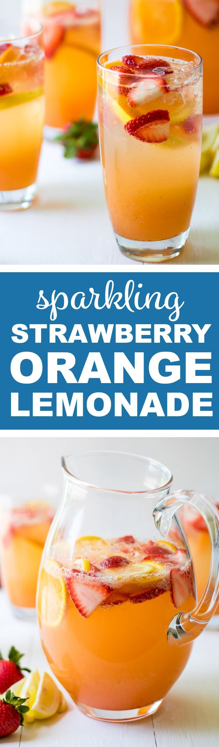 This Sparkling Strawberry Orange Lemonade is a perfectly refreshing summer drink. It is easy to make, not too sweet, and not too tangy.