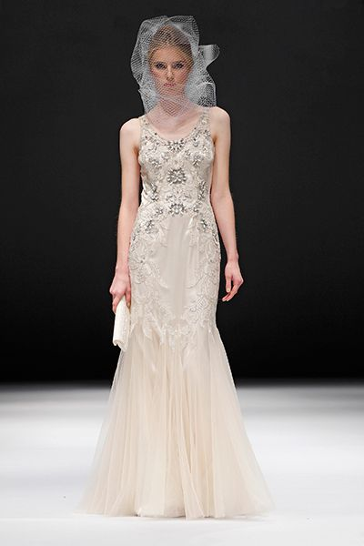 Badgley Mischka Spring 2015 Bridal Collection. wedding dress. beige. ivory. floral. romantic. Lace back.