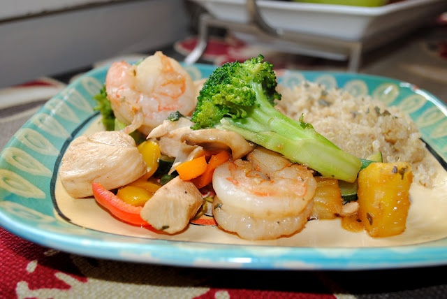 Pineapple Stir Fry with Jumbo Shrimp, chicken, and Fresh Veggies on a ...