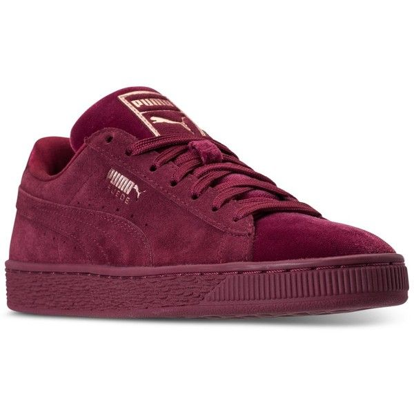Puma Women's Suede Classic Velvet Casual Sneakers from Finish Line ($75) ❤ liked on Polyvore featuring shoes, sneakers, cordovan, puma trainers, puma footwear, suede shoes, puma shoes and suede trainers
