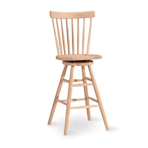 Copenhagen 30 Inch Unfinished Wood Swivel Bar Stool International Concepts Bar Height (28