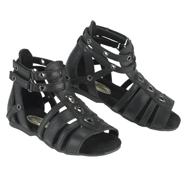 Gladette Sandal Adorable black leather sandal with wide side opening for ease of putting foot into the shoe. Soft sueded inner lining and ample strapping to support the foot, including double adjustable velcro straps around the ankle area. Style carries all the fashionable elements of a gladiator sandal and little girls will just adore the antique style pewter eyelets down the front section of the sandal - oh so cool and funky. $20