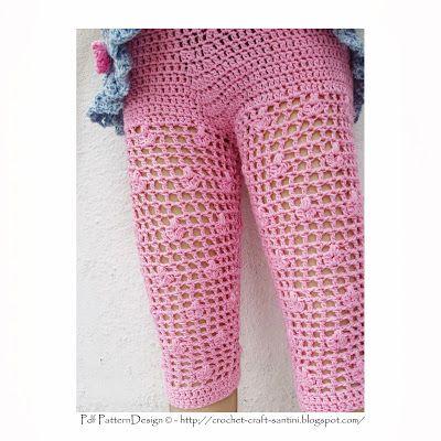 Free Crochet Girls Dress Pattern   Crochet & Craft: SUMMER-PINK FLOWER-LEGGINGS FOR FANCY LITTLE GIRLS!