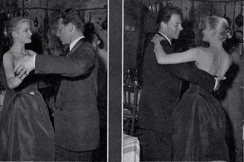 Grace Kelly dancing with French actor Jean-Pierre Aumont in Cannes, 1955
