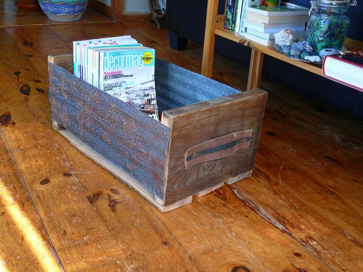 Caisse en bois et en métal récupérés de la boutique Recytrucs sur Etsy