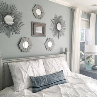silvermist sw 7621 sherwin williams idea of lots of different mirrors is cool - Bedroom Color Scheme Ideas