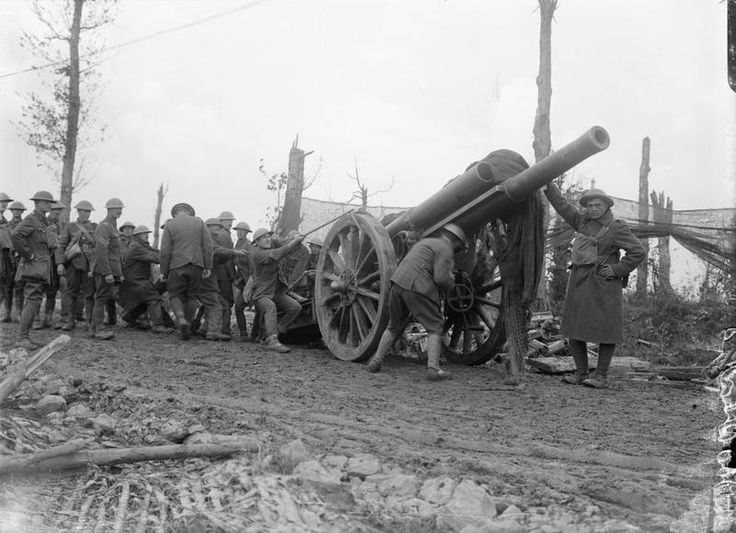 THIRD BATTLE YPRES 30 MAY - 1 NOVEMBER 1917 (Q 3020)   A 60 pdr Mark I being taken out of its emplacement to move it forward. R.G.A. at Wieltje, 5th September 1917.