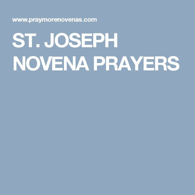 ST. JOSEPH NOVENA PRAYERS